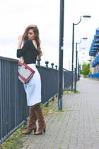 vintage bag - Mango blouse - byblos skirt