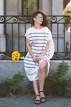 silk beaumont organic dress - Sungod sunglasses - leather Laura Scott sandals
