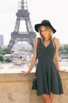black Zara dress - black Topshop hat - black leather Atmosphere bag