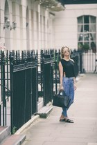 blue Topshop jeans - black leather Michael Kors bag - black cool Zara blouse