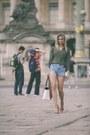 Leather-michael-kors-bag-denim-zara-shorts-khaki-zara-blouse