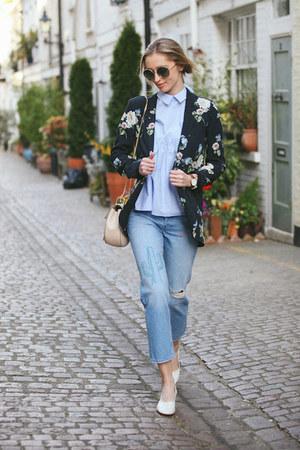 sky blue embroidered Zara jeans - ivory leather Zara shoes