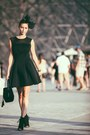 Black-river-island-dress-black-mink-leather-louis-vuitton-bag