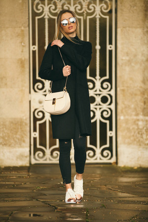 ivory leather Chloe bag - black wool Zara coat - black skinny Zara jeans