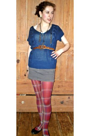 red H&M stockings - gray skirt - blue American Eagle sweater - brown belt - silv