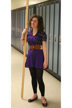 purple dress - black leggings - black shoes - belt
