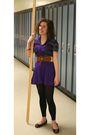 Purple-dress-black-leggings-black-shoes-belt