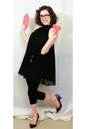 black dress - black leggings - black shoes - brown glasses