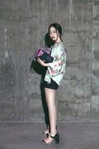light pink Prada heels - white Zara coat - bubble gum flower dior scarf