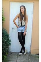 vintage shorts - Topshop top - Mango wedges
