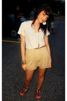 white shirt - beige skirt - brown shoes