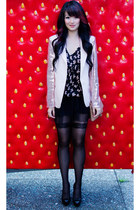 peach sequins sleeves Forever21 blazer - black bowtie print numph dress