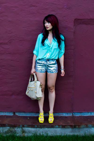 yellow cutout stiletto Tobi heels - cream ggh sahara city balenciaga bag