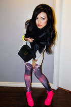 purple lightning romwe leggings - hot pink necessary clothing shoes