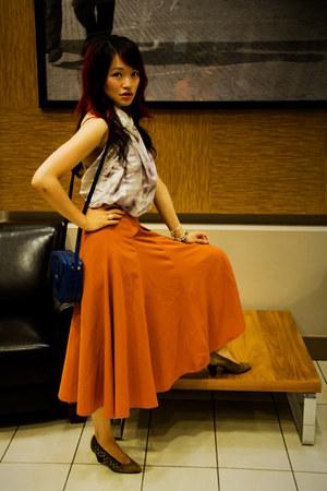maxi circle vintage skirt - vintage shoes - Obakki scarf - Louis Vuitton bag