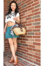 Celine-shoes-straw-handbag-coach-bag-green-cotton-aeropostale-skirt