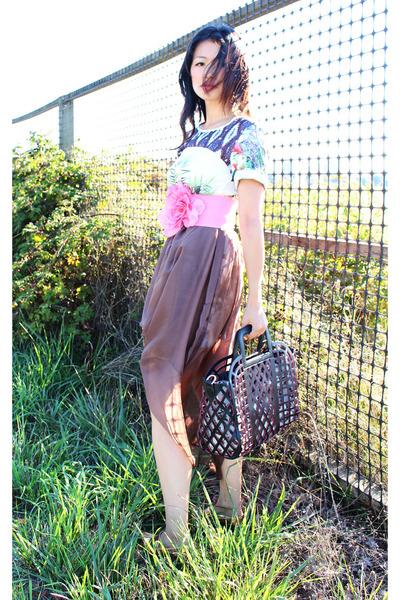 camel sheer maxi romwe skirt - light blue prints romwe dress
