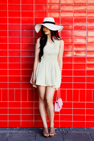 cotton OASAP dress - wide brim San Diego Hat Company hat - flap Chanel bag