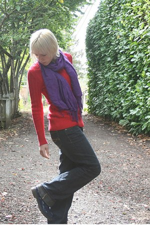 purple scarf - blue boots - navy boot cut mossimo supply co jeans