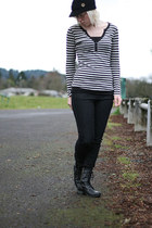 striped thermal BELLE DU JOUR shirt - black tank Wet Seal shirt - LEI boots