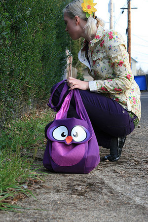 purple owl bag - deep purple skinny Blue Asphalt jeans - light yellow LEI blouse