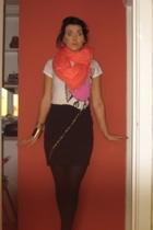 scarf - Topshop t-shirt - myself skirt - Primark shoes