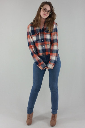 carrot orange American Eagle top - brown Forever 21 boots - blue H&M jeans
