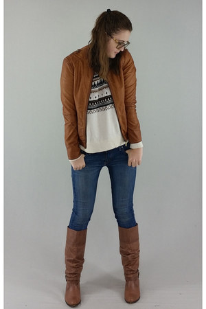 brown Steve Madden boots - navy Levis jeans - brown Reset jacket