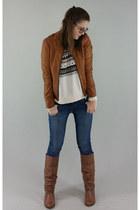 brown Steve Madden boots - navy Levis jeans - brown Reset jacket