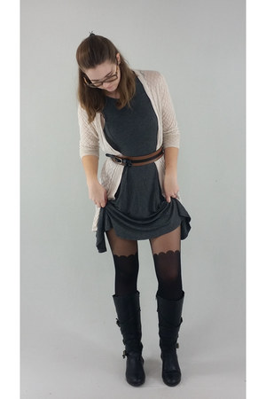 brown belt - black Modern Rush boots - gray Acemi dress