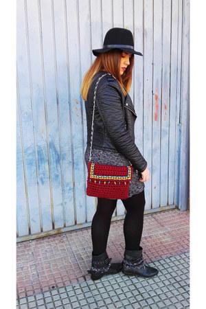 gray H&M dress - black Zara boots - black H&M hat - black H&M jacket