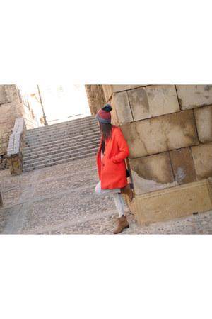 carrot orange pull&bear coat - light brown Primark boots