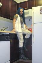 white Fiona & Purple cardigan - brown Fiona & Purple top - white decree jeans -