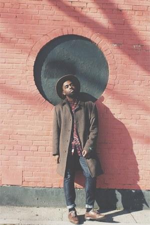 dark brown Ralph Lauren coat - light brown Urban Outfitters hat