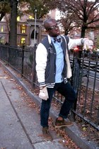 brown desert boots Clarks boots - heather gray varsity jacket H&M jacket - sky b