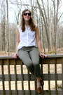 Olive-green-ae-pants-white-gap-blouse-dark-brown-call-it-spring-loafers