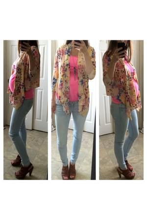 bubble gum Forever 21 blouse - light blue jeans