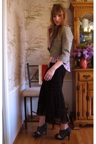 Anthropologie jacket - sheer lace JCpenney skirt - grey modcloth heels