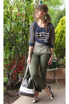 sweater  tee Nordstrom shirt - Lululemon bag - olive cargos Anthropologie pants