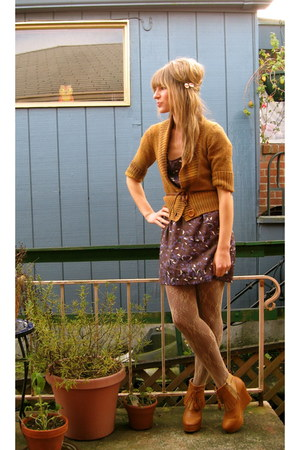 tawny Ego and Greed boots - purple modcloth dress - burnt orange Frenchi sweater