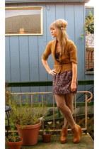 tawny Ego and Greed boots - purple modcloth dress - burnt orange Frenchi sweater