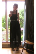 black sheer maxi LuLus dress - forest green Anthropologie belt - brown leopard p