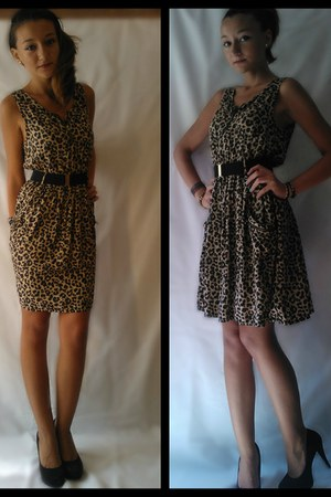 leopard print H&M dress - black with red sole Christian Louboutin heels