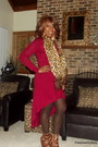 Dark-brown-wilsons-leather-scarf-brick-red-forever-21-dress