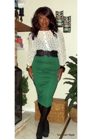 asos skirt - polka dot H&M shirt - platform Bakers pumps