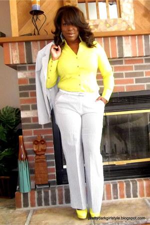 yellow Express blouse - heather gray seersucker Target blazer