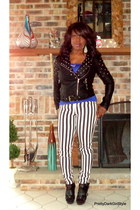 white striped Forever 21 jeans - black studded Forever 21 jacket