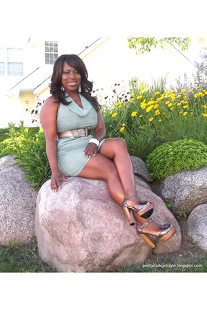 heather gray Charlotte Russe sandals - teal Forever 21 dress