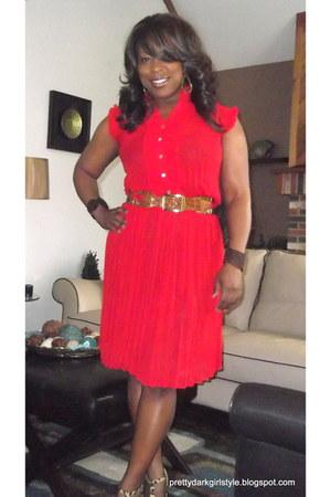 Cross Roads Trading dress - BCBG belt - leopard print go jane heels