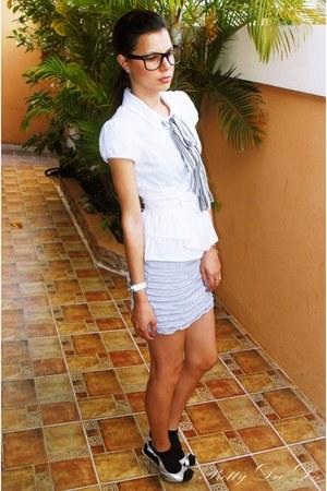black socks - silver sandals - silver skirt - white blouse